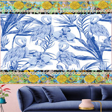 Гобелен с синим фламинго мандала картина маслом текстурный узор