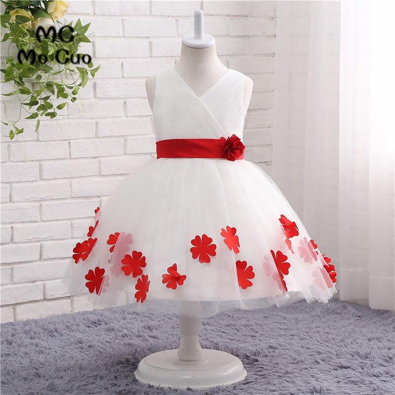 2017 Fashion   Flower     Girl     Dresses   Ball   Flowers   Tank V-Neck Bow Zipper Wedding Pageant First Communion   Dresses   for Little   Girls