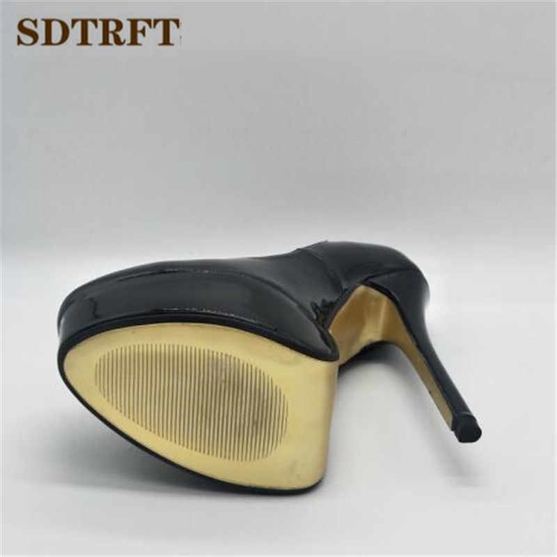 SDTRFT Artı: 45 46 47 48 Stilettos zapatos 16 cm ince topuklu rugan platformu düğün ayakkabı kadın seksi Sığ Ağız pompaları