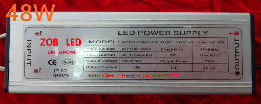 48w led driver DC50-60V,0.9A,high power led driver for flood light / street light,constant current drive power supply,IP65