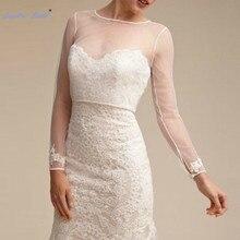 Sapphire Bridal 2019 New Arrival Sheer Lace Wedding Bolero Simple Shawl Long  Sleeve Bridal Lace Jackets 8fb96fdb0