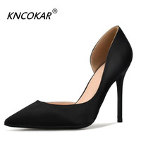 KNCOKAR 2018 new silk satin stiletto stiletto heels sexy shallow mouth side empty women's shoes fashion career shoes