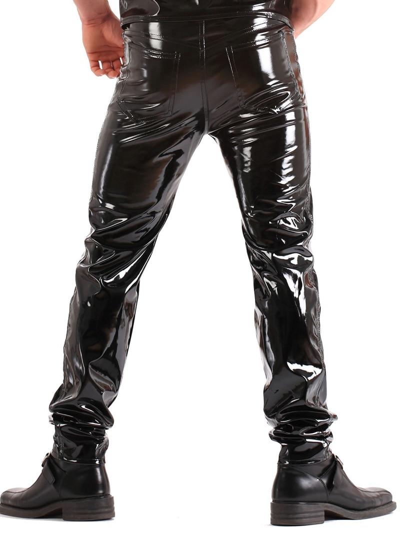 ZOGAA Men Skinny Faux Leather Leisure Pants Men Black PU Shiny Pants Male Singers Club Performance on Stage Dancer PU Pants Plus