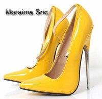 Moraima Snc women pumps 18 cm stiletto metal heels ladies shoes sliver wedding bride shoes high heels pumps plus size 45 yellow