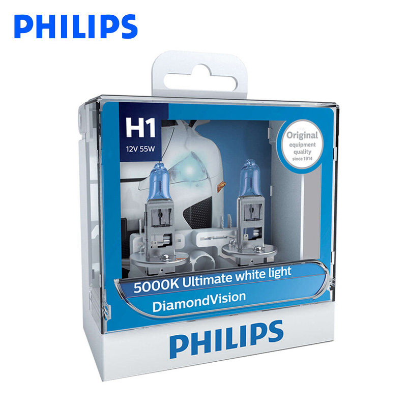 Philips H1 H4 <font><b>H7</b></font> H8 HB3 HB4 9003 9005 9006 12V Diamond Vision 5000K Car <font><b>Halogen</b></font> Headlight Fog Lamp Super Xenon <font><b>White</b></font> Light, Pair image