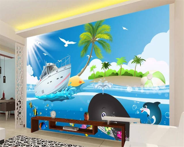 Beibehang Custom Wallpaper 3d Photo Mural Cartoon Blue Sea Fish