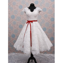 2017 White and Red Sash Tea Length Short Wedding Dresses Cap Sleeve Full Lace A Line Vintage Bridal Gowns Custom Size