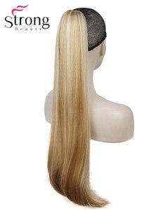 Image 4 - StrongBeauty długa prosta klamra kucyk Hairpiece przedłużanie włosów 26 cali syntetyczna odporność na ciepło wybór kolorów