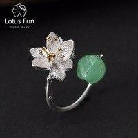 Lotus Diversión Verdadera Plata de Ley 925 Natural Calcedonia Hecho A Mano Joyería Fina Anillo de la Flor de Loto Susurros Anillos para Las Mujeres Bijoux