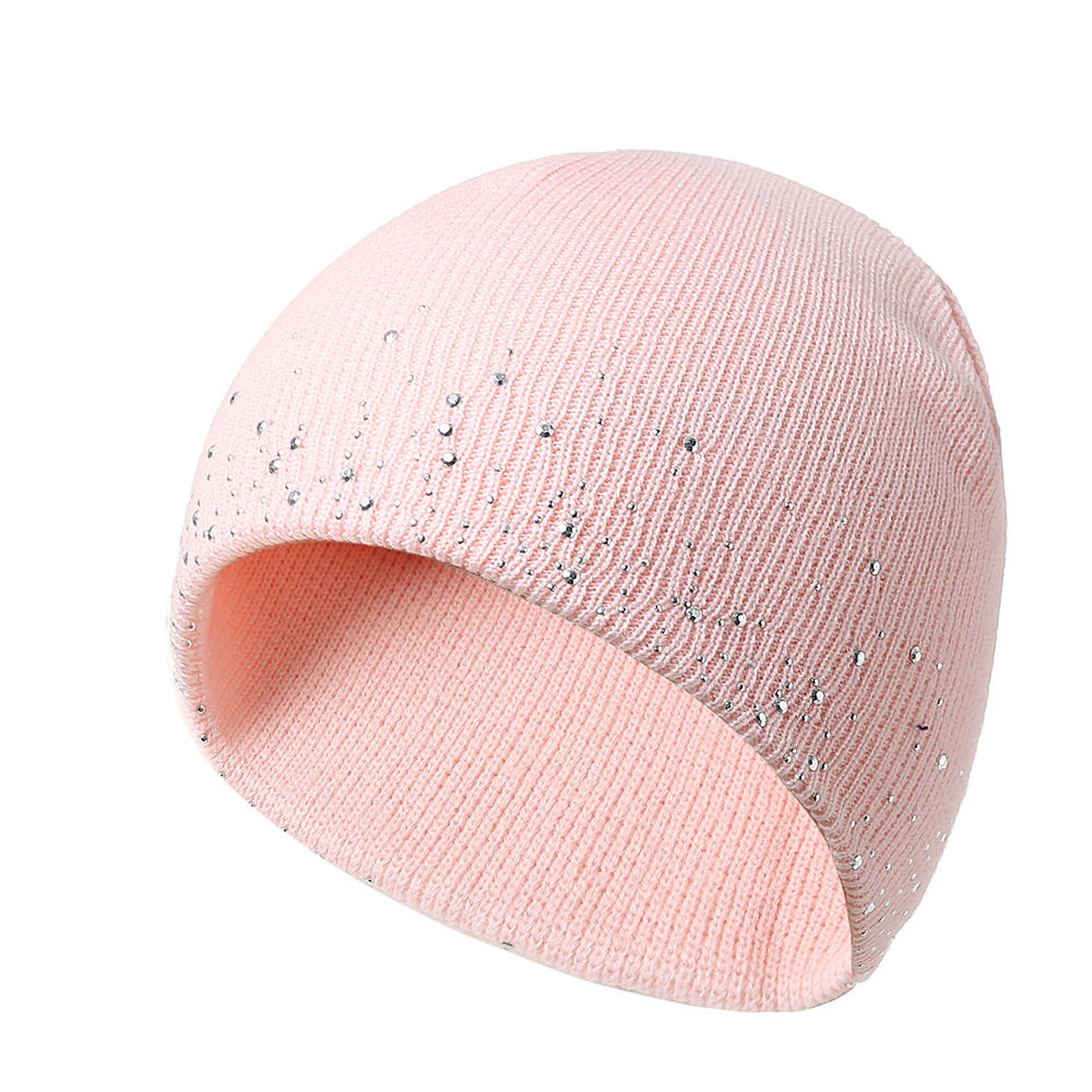 MISS M Caps Female Women's Hot Drilling Warm Short Knitted Hat Autumn And Winter Outdoor Fashion Wool   Skullies     Beanies   Cap Pink