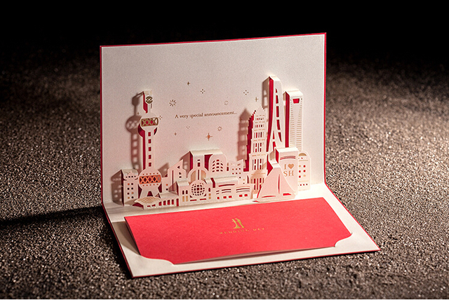 Free shipping 10pcslot 3d shanghai architecture paper cut pop up free shipping 10pcslot 3d shanghai architecture paper cut pop up wedding cards reheart Choice Image