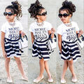 New Fashion Children Baby Girls Brief T-shirt Tops Striped Mini Skirts Outfits Set Summer Party Dress 2 3 4 5 6 7 Years