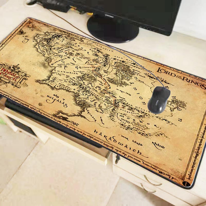 Mairuige lord of the rings map Extended Gaming Mouse Pad Mat Stitched Edges Waterproof Wide & Long Rubber Mousepad Keyboad Mat 1