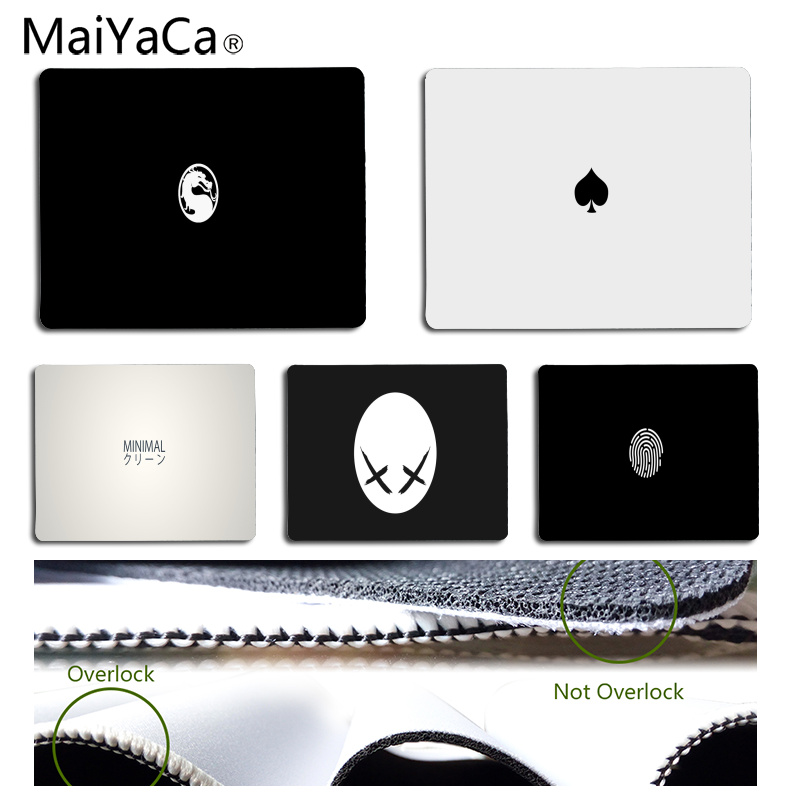 MaiYaCa Hot Sales Black and white minimalist Customized laptop Gaming mouse pad Size for 18x22cm 25x29cm Rubber Mousemats