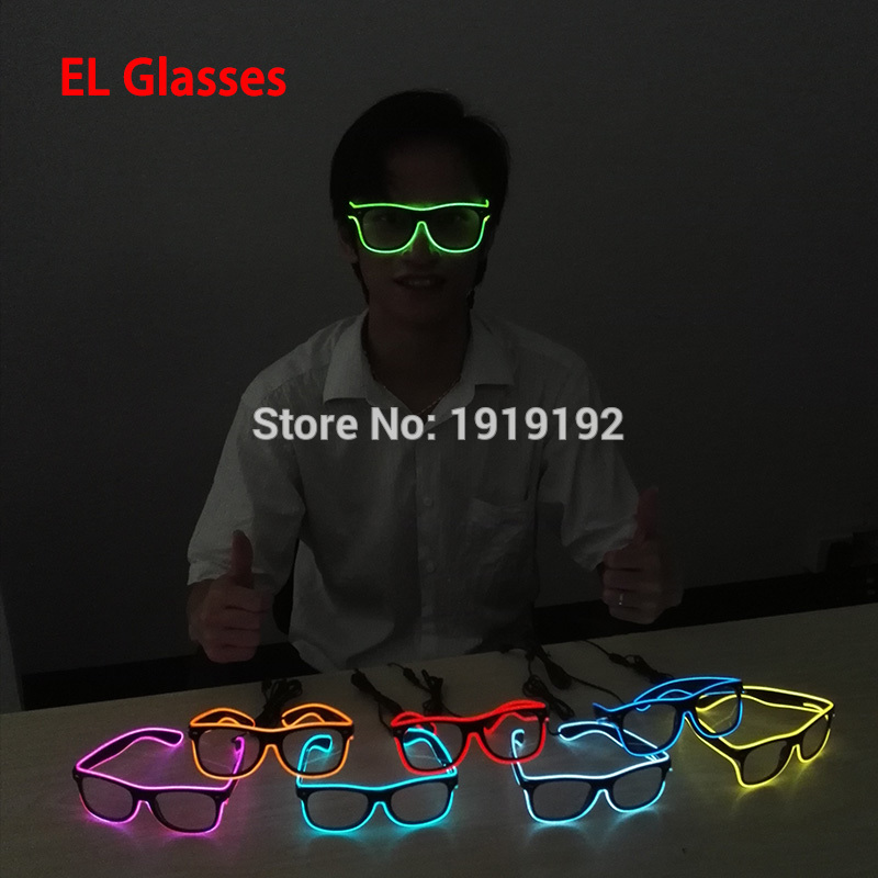a0110399d9 Flashing EL glasses El Wire Fashion Neon LED Light Up Shutter Shaped Glow  Glasses Rave Costume Party DJ Bright SunGlasses-in Glow Party Supplies from  Home ...