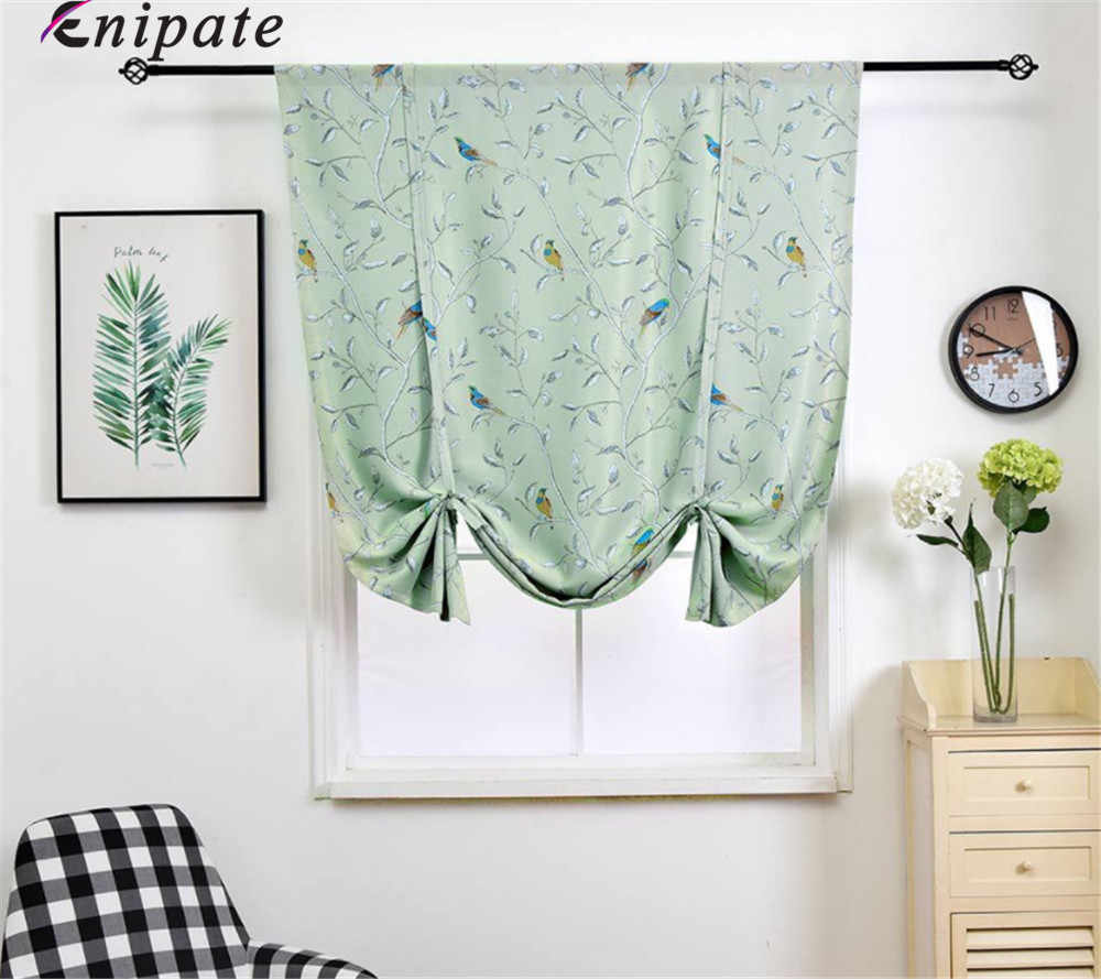 Enipate American Style Floral and Bird Roman Blinds Short Kitchen Door Curtains Blackout Shade Short Window Treatments Curtain