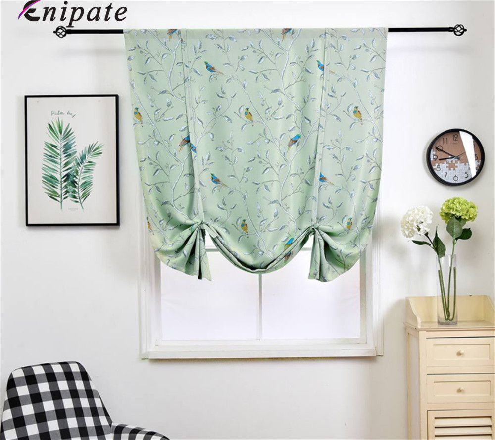 US $11.88 46% OFF|Enipate American Style Floral and Bird Roman Blinds Short  Kitchen Door Curtains Blackout Shade Short Window Treatments Curtain-in ...