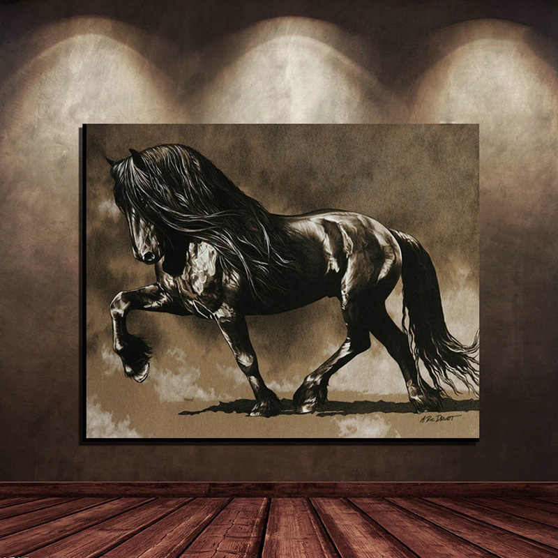 The Running Horse Canvas Art Animal Wall Art Poster Pictures For Living Room Home Decor Retro Wall Canvas Print Painting
