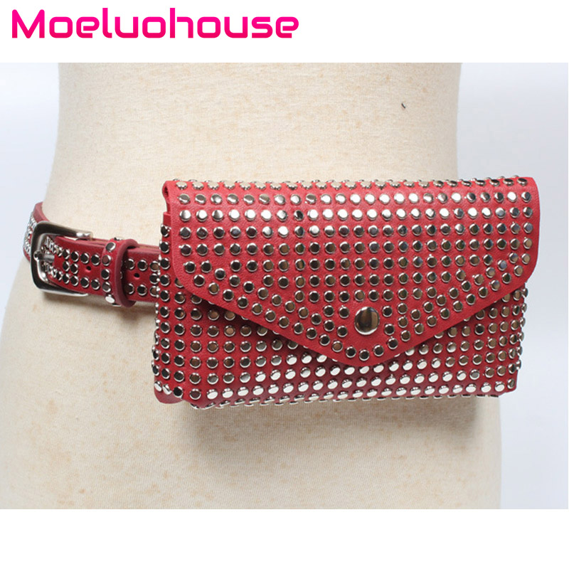 Moeluohouse Rivet Waist Fanny Packs Bag Women Female Adjustment Belt Hasp Solid PU Punk Style Casually Business Kawaii Gift in Waist Packs from Luggage Bags