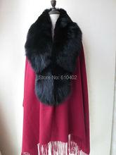 Elegant/100% Real Wool 100% Real best Black Fox Fur cape /Scarf /cloak /Coat//Wraps/Shawl/purplish red