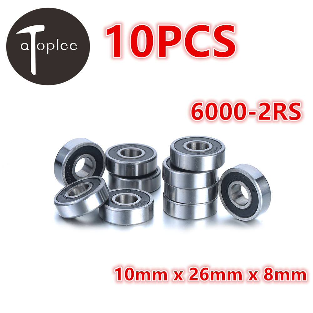 Atoplee 10pcs 6000-2RS Deep Groove Ball Bearings Bearing Steel 10*26*8mm For Car Motors Machinery Industries Rolling Bearings mf84zz diy steel ball bearings for model toy robot silver 2 pcs