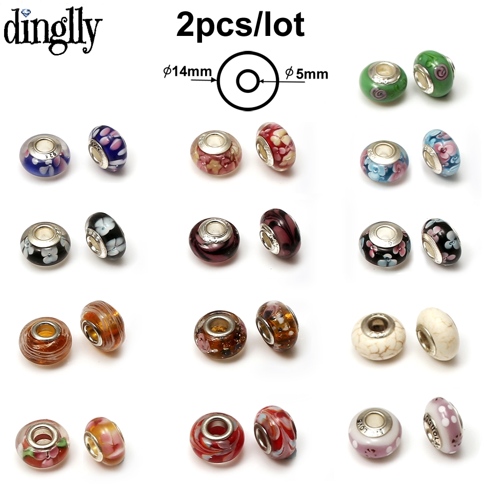 DINGLLY 2Pcs/Lot European Colorful Murano Glass Beads Charm Flower Beads Fit Women DIY Brands Bracelets & Bangles Gifts(China)