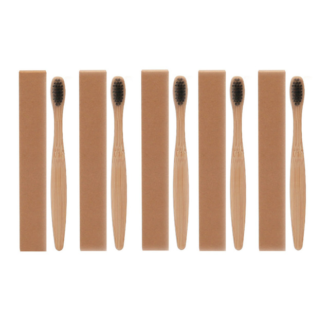 5pcs New arrival Environmental Bamboo Charcoal Toothbrush For Oral Health Low Carbon Medium Soft Bristle Wood Handle Toothbrush