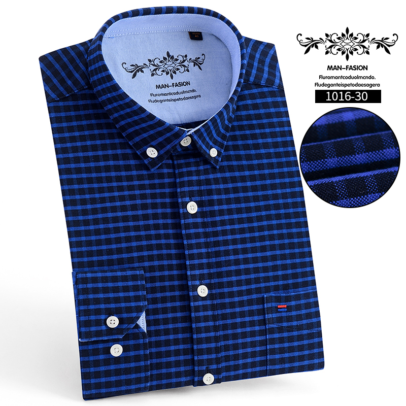 2019 men's fashion casual long-sleeved solid color plaid shirt Slim men's social business shirt men's clothing soft and comforta