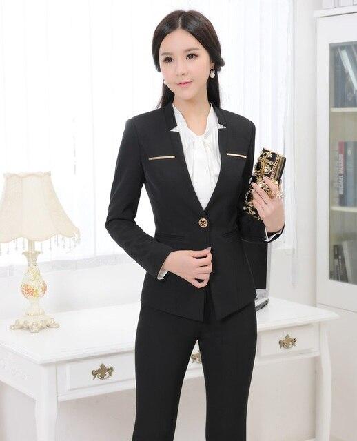 72b754bfc 2015 Otoño Invierno Trajes Pantalón Formales para Mujeres Ropa de Trabajo  Trajes de Señoras de la Oficina de Diseño Uniforme Profesional Conjuntos ...