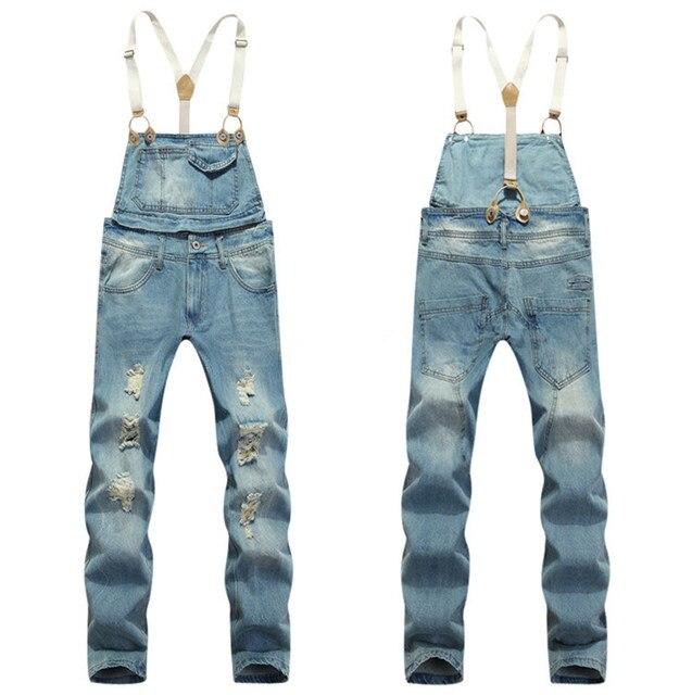 7cf1bd3919e New 2015 Mens Bib Denim Overalls Slim Fit Men s Jeans Coveralls Pants With  Suspenders Salopette Homme