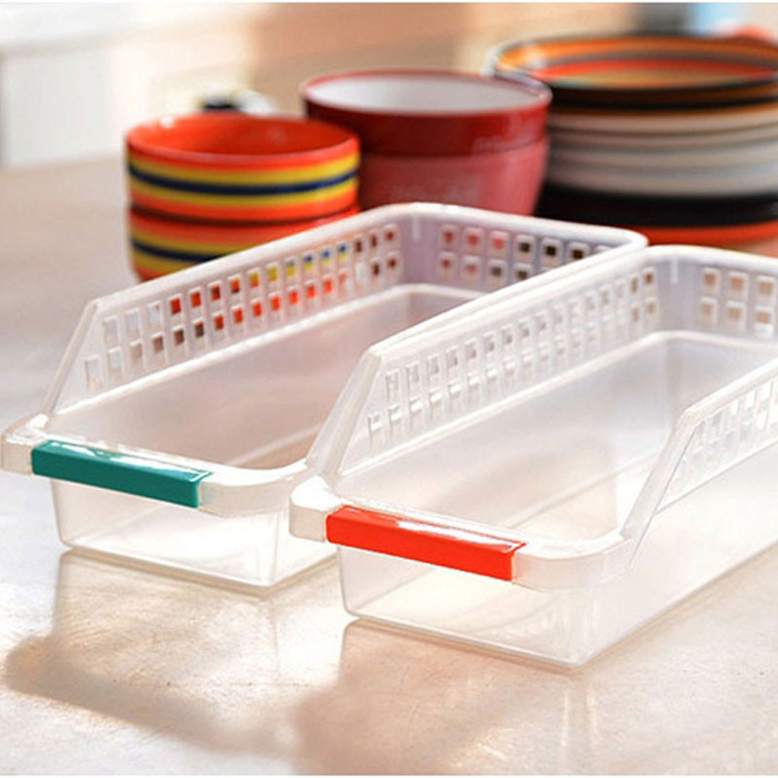 Hot sale 1Pcs Household Refrigerator Plastic Storage Box fresh spacer layer Container For The Kitchen Tool