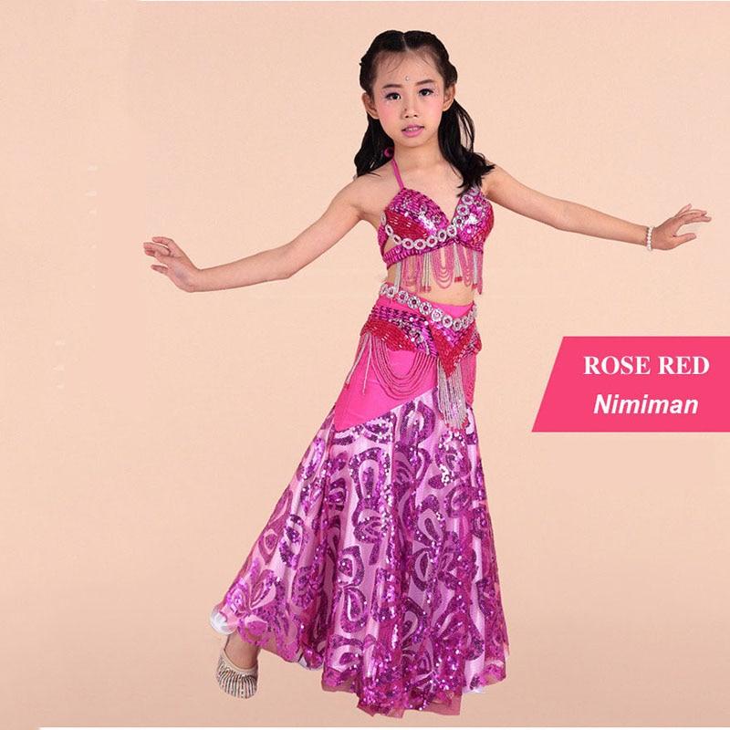 Děti Indie orientální břišní tanec sukně strapec podprsenka dlouhé sukně oblečení taneční kostým výkon pro děti na prodej hot 3 ks
