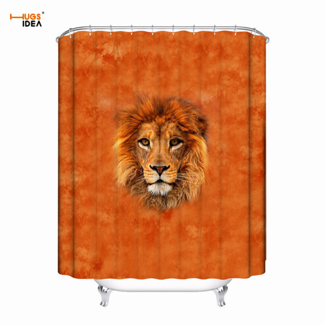 HUGSIDEA Polyester Fabric Bath Curtains 3D Animal Lions Tiger Print Thickened Moldproof Waterproof Shower Curtain Decor