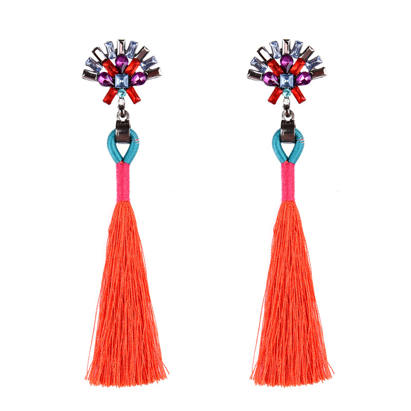 5 Color Multicolor Crystal Blue Tassel Pendant Ethnic Bohemia Long Chain Fashion Earring For Women Boho Colorful Stone brincos