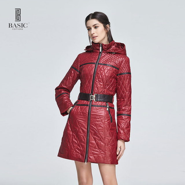 Basic Editions Для женщин весенние тонкие slim fit пояса хлопковое Пальто Капюшон Куртка-14w-62