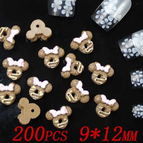 wholesale 200pcs 12x9mm coffee color Mickey cookies resin Flatback applique for nail art 3d nail jewelry
