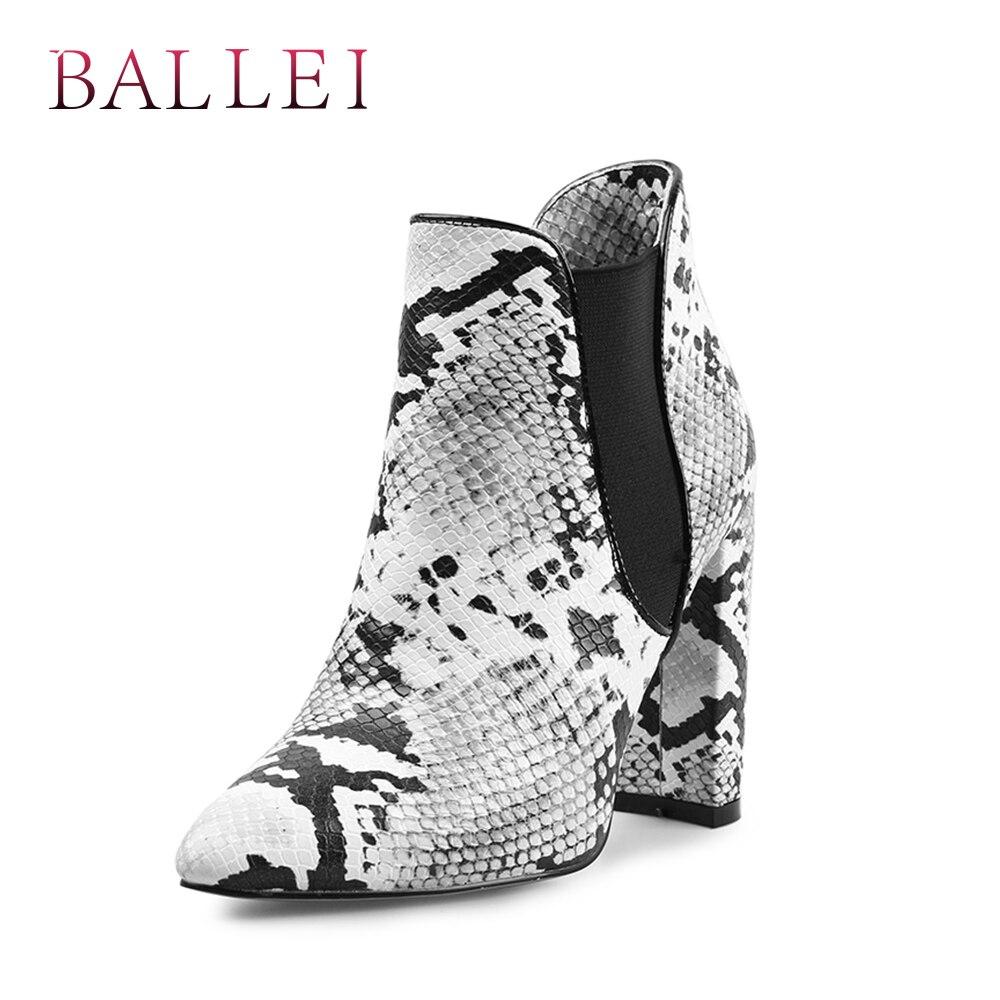 À Pointu Doux B30 Pu Balle Décoratif Talon Snake Carré Mode Luxe Femme Bottine Boot Classique De Chaussures La Qualité Bout Main Motif RqIZqfxaw