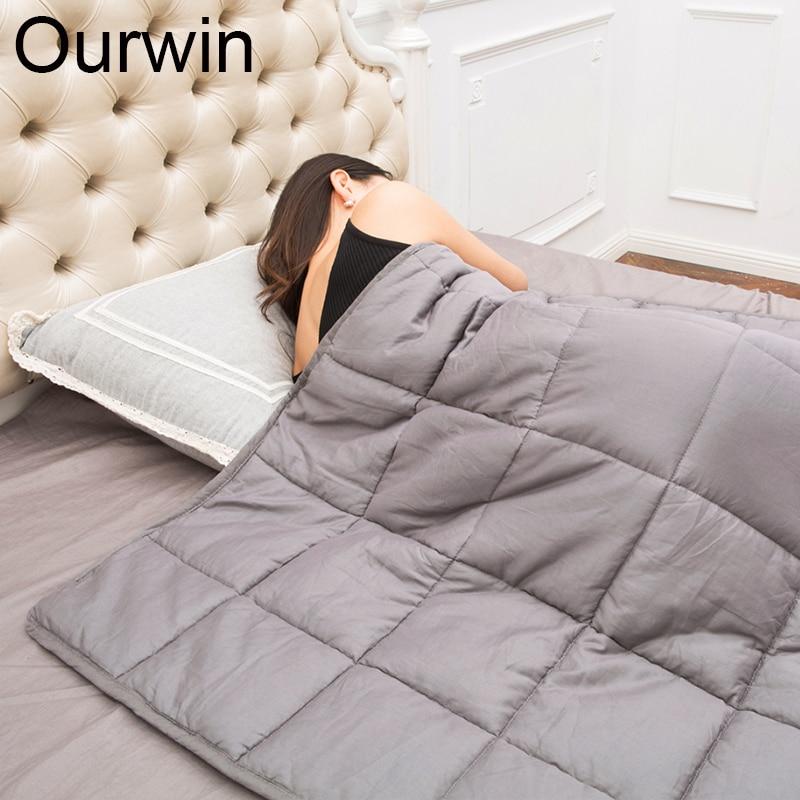 Ourwin 7 KG Pondéré Couverture 100% Coton Décompression Couette Pondérée Couverture Soulager Catigue et Améliorer le Sommeil Gravité Couverture