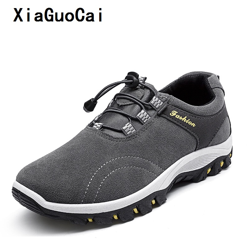 XiaGuoCai sneakers man shoes Climbing Breathable Good quality Working canvas shoes Hard-Wearing Outdoor Elastic band shoes man