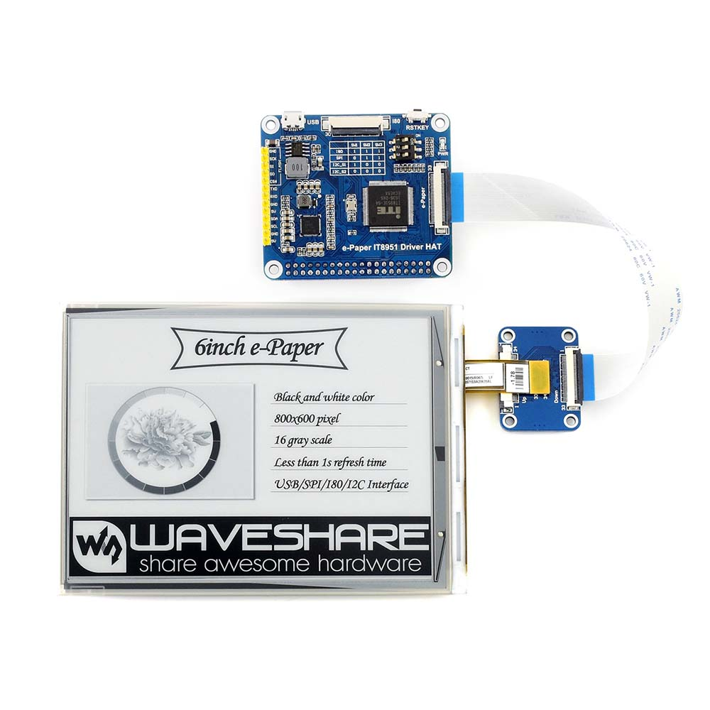 Waveshare 6inch E Ink display HAT for Raspberry Pi, 800*600,  IT8951controller, USB/SPI/I80/I2C interface ,clear display-in Demo Board from Computer & Office    1