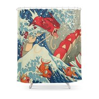 The Great Red Wave Shower Curtain Fabric Liner with 12 Hooks 72Wx80H inch Waterproof and Mildewproof