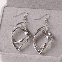 Boucle D'oreille 2016 Fashion  Silver Drop Earrings Jewelry Leafs Pendant Earrings Twisted 925 Long Dangling For Women Gift