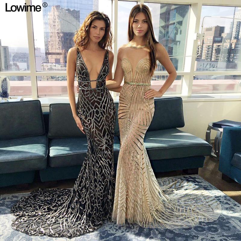 Fashion Sexy Illusion Mermaid Celebrity Dresses 2019
