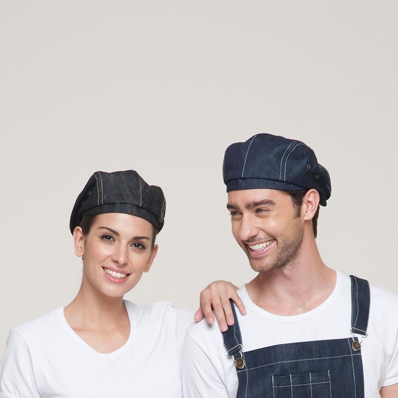 Fashion Reataurant Hotel Kitchen Waiter Beret Chef Hats Caps Cowboy Fabric More Color Unisex