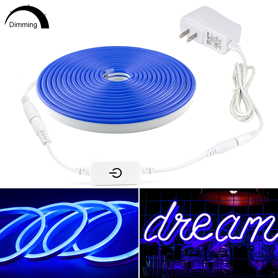 Waterproof Led Neon Light Tape 12V Touch Dimming EU US Power Adapter IP67 LED Ribbon Strip Light Flexible Neon Lights Tape 1m-5m