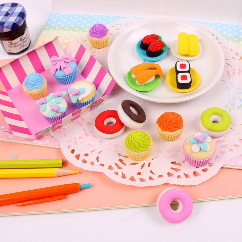 Image 2 - Free ship!1lot=12set!Sweet delicacy cake food rubber eraser / exquisite PVC small box  packing erasers set/ children gift-in Eraser from Office & School Supplies