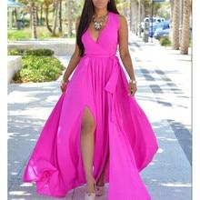 Women Boho Solid Long Maxi Dress Sexy V Neck Sleeveless Beach Vestido Side Split