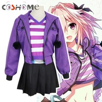 Coshome Fate Apocrypha Astolfo Cosplay Costumes Pink Wig Women Purple Jacket Spring Coat For Halloween Party