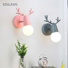 Nordic регулируемый светодиодный настенные светильники красочный мультфильм рога оленя Спальня чтения Бра настенные Освещение детской комнаты E27
