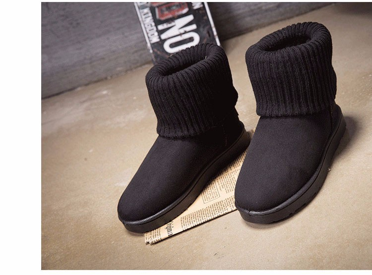 KUYUPP Patchwork Knitting Wool Women Snow Boots Winter Shoes 2016 Flat Heels Warm Plush Ankle Boots Slip On Womens Booties DX119 (54)
